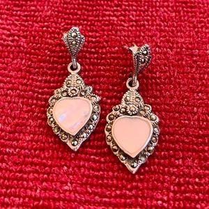 Sterling marcasite MOP heart earrings